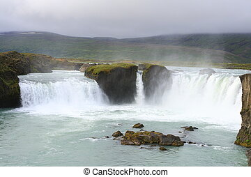 Godafoss is a waterfall in northeast Iceland