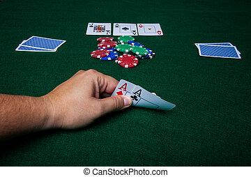 Texas Holdem - A Texas Holdem hand, four of a kind aces