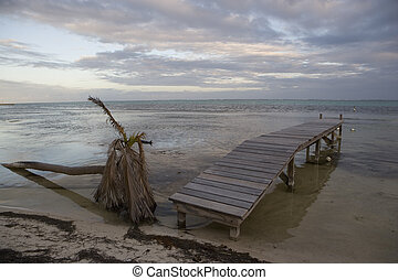 Sunset with fallen palm and short pier - A sunset on...