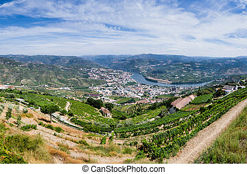Panoramic view over River Douro, Regua city, Portugal,...