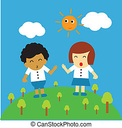 vector cartoon - student vector cartoon style for use