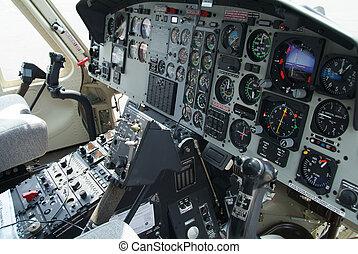 helicóptero, cabina piloto