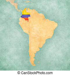 Map of South America - Colombia (Vintage Series) - Colombia...