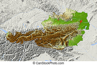 Austria, shaded relief map - Austria Shaded relief map...