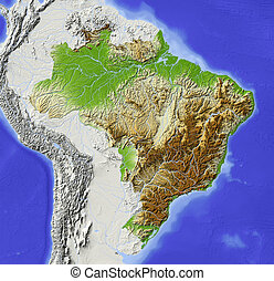Brazil, shaded relief map