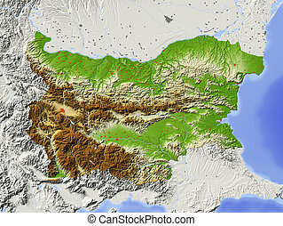 Bulgaria, shaded relief map - Bulgaria Shaded relief map...