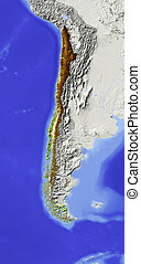 Chile, shaded relief map - Chile. Shaded relief map....