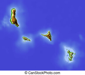 Comoros and Mayotte Islands, shaded relief map