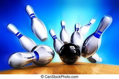 bowling - 3D illustration of a winning concept