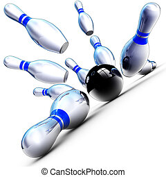 succes - 3D illustration of fallen bowling pins