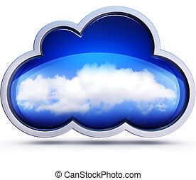 cloud - 3D illustration of a cloud computing concept