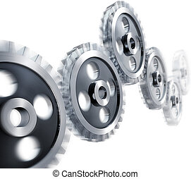 gears - 3D illustration of moving gears