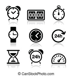 Time, clock vector icons set - Different type of measuring...