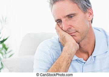 deprimido, homem, pensando