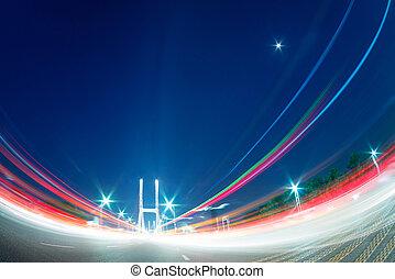pont, crépuscule, lumière, moderne, voitures, Pistes