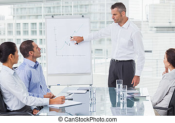 Businessman giving presentation to his colleagues in bright...