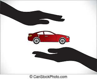 Red Car Insurance Protection Hand - Concept Illustrations of...