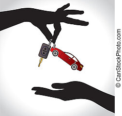 Care Sale or Car Key Concept Illustration : Two hand...