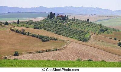 Tuscany Landscape. Suburbs of Castiglione d'Orcia town,...