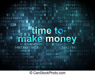Timeline concept: Time to Make money on digital background -...