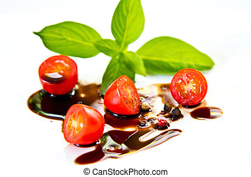 Tomato with Basil and Balsamic dressing - Cherry Tomato with...