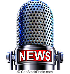 news - 3D illustration of a microphone with a news icon