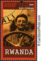 RWANDA - 2009: shows portrait of Enzo Ferrari (1898-1988) -...