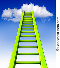 ladder - 3D illustration of a ladder to the clouds