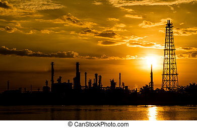 Silhouette of Refinery plant