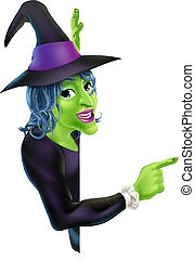 Halloween Witch Pointing - An illustration of a friendly...
