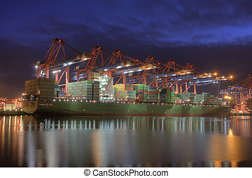Container Terminal in Hamburg, Germany - during winter