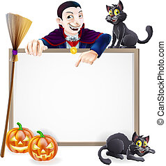 Dracula Halloween Sign - A Halloween sign with a classic...