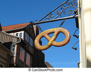 Pretzel - Bakery sign in form of a pretzel seen in...