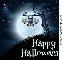Blue Halloween Moon Bat Background - A spooky scary blue...