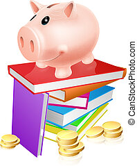 Piggy bank on books - A piggy bank standing on a stack of...