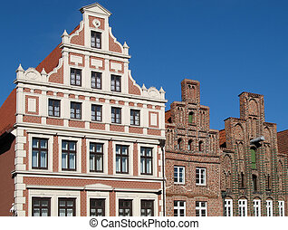 Row of houses in Lueneburg, Lower Saxony, Germany.