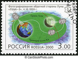 """RUSSIA - CIRCA 2000: A stamp printed in Russia shows Photography of the reverse side of the Moon, """"Luna-3"""", series Russia, XX century, Science, circa 2000"""