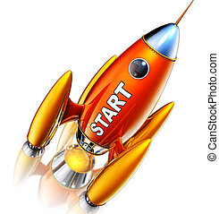 rocket - 3D rendering of a rocket with a start icon