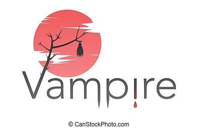 Vector vampire text with bloody moon