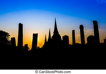 Pagoda at wat Phra sri sanphet temple at twilight,...