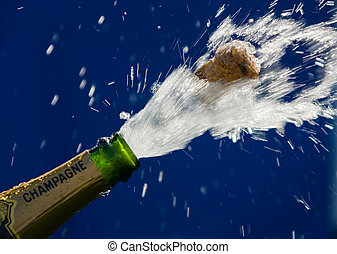 Champagne bottle - Ender corks popping open a bottle of...