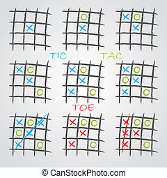 Playing tic tac toe variations on gray background