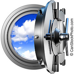 coded cloud computing - 3D illustration of coded cloud...