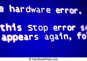 computer crash - Blue screen of death, computer error crash