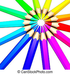 colored pencil - illustration of a circle of colored pencils
