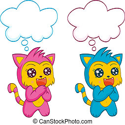 Cute cats with speech bubbles - An illustration of the cute...