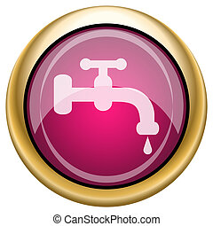 Magenta glossy icon - Shiny glossy icon with white design on...