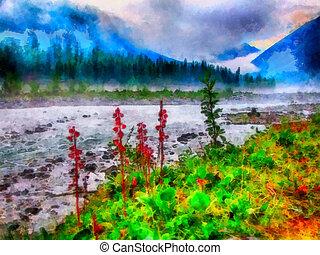 River in woods - Digital watercolor colorful natural...