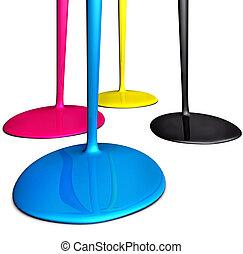 cmyk drops - 3D rendering of color drops