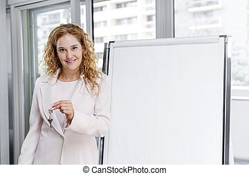Real estate agent with keys and flip chart
